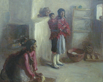 "Alice Cleaver, Indian Home Life, Zuni, Oil on Canvas, 1907, 35"" x 43"""