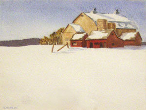 "Edith Hamlin, Red Barn, Watercolor on Paper, 8"" x 11"""