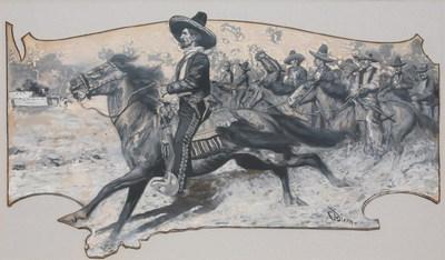 "Maynard Dixon (1875-1946) Joaquin Murietta, Gouache Illustration, c. 1903, 13"" x 23"""