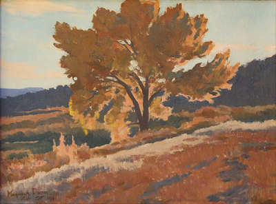 "Maynard Dixon (1875-1946) October Leafage, Utah, October 1941, Oil on Canvas Board, 12"" x 16"""