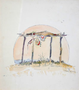 """Ace Powell, Burial Scene Sketch, Colored Pencil on Paper, Circa 1950, 8.5"""" x 7.5"""""""