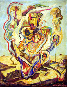"Alfred Morang, Horror of War, Oil on Board, 1947, 30"" x 24"""