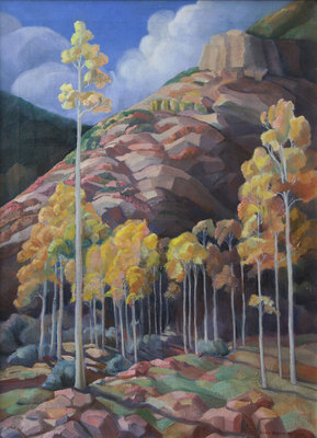 "Anna Elizabeth (Wilton) Keener, Aspen Trees, Oil on Canvas, mid-late 1930s, 21-5/8"" x 29-5/8"""