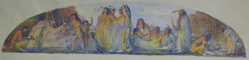 "Bert Geer Phillips, Mural Indian Sketch, Watercolor on Paper, 2"" x 21"""