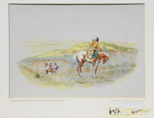 "Byron Wolfe, Comanches Watching Freemont's Men On The Canadian River, 1845, Watercolor, c. 1960, 16"" x 20"""