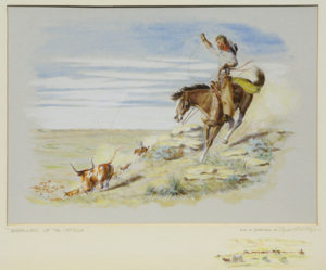 "Byron Wolfe, Wranglers Of The Cap Rock, Watercolor, c. 1960, 16"" x 20"""