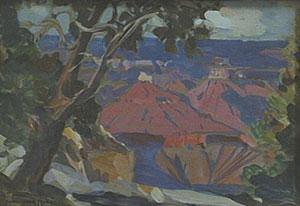 "Carl Oscar Borg, Grand Canyon, Oil on Paper, 4"" x 6"""