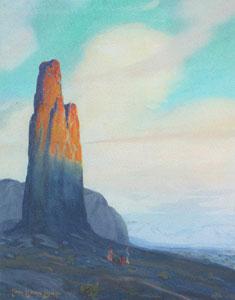 "Carl Oscar Borg, Needle Rock, Monument Valley, Gouache on Paper, c. 1920, 15"" x 11"""