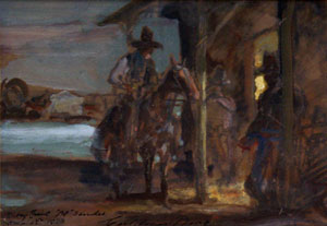 "Carl Oscar Borg, To My Friend Al Sander, Gouache on Paper, c. 1933, 5"" x 6.75"""