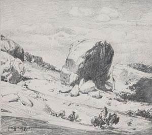 "Carl Oscar Borg, Sacred Rock of Walpi, Graphite on Paper, 8.75"" x 10.5"""