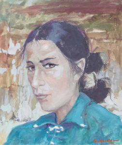 "Carl von Hassler, Navajo Woman, c. 1920 Acid Tempera, 16"" x 14"""