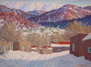 """Carl von Hassler, Sundown in Winter, March 27, 1939 Oil on Canvas 18"""" x 24"""",Foothills Sangre De Christo Range New Mexico"""