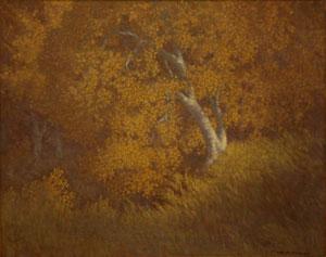 """Carl E. Woolsey, Autumn Splendor, Oil on Canvas, c. 1920, 16"""" x 20"""""""