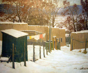 "Carl Woolsey, Winter in Taos, Oil on Canvas, 30"" x 36"""