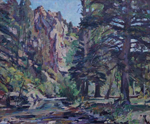 "Charles Berninghaus, On the Rio Pueblo, Oil on Canvas, 25"" x 30"""