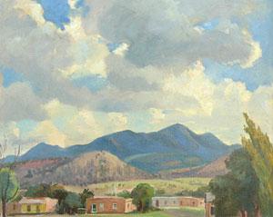 """Cornelis Botke, Ortiz Mountain, Oil on Canvas, Circa 1932, 16"""" x 20"""""""