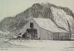 """Dale Nichols, McGee's Buggy, Graphite on Paper, 6"""" x 9"""""""