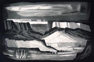 """Doel Reed, Rio Grande, Aquatint on Paper, circa 1971, #11/30, 11"""" x 17"""""""
