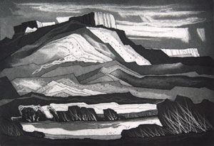"Doel Reed, The Gorge at Pilar, Aquatint on Paper, circa 1978, Trail Proof, Edition of 35, 10"" x 15"""