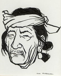 "Don Perceval, Indian Man, Pen and Ink, 5"" x 4"" Pictured on page 25 of ""A Navajo Sketch Book"" by Don Perceval, 1962. Out of Print."