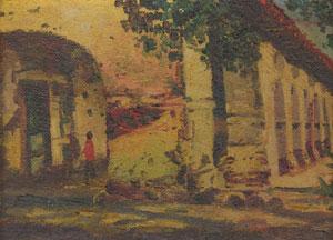 """E. A. Burbank, Mission San Juan Capistrano of California, Circa 1895-1900, Oil on Canvas on Board, 4"""" x 6"""""""