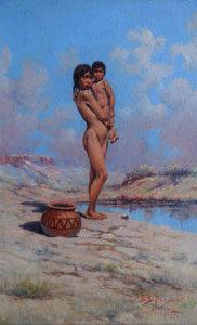 """Edgar Samuel Paxson, A Pueblo Girl Playing Mother, Oil on Board, Circa 1917, 22.25"""" x 14.25"""""""