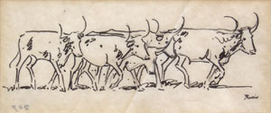 "Edward Borein, Cattle Crossing, Pen and Ink, 2.5"" x 5.25"""