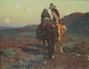 "Frank Tenney Johnson, The Rising Moon, Oil on Canvas Board, c. 1932, 16"" x 20"""
