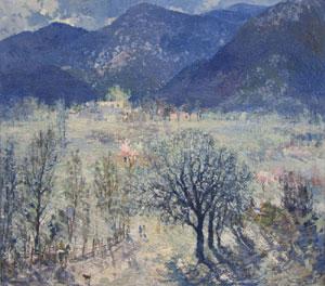 "Fremont Ellis, Mountain Scene, Oil, 33"" x 37"""