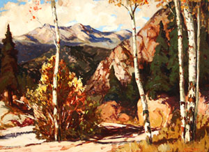 """Fremont Ellis, Red River Canyon, Oil on Canvas Board, Circa 1925-30, 21"""" x 29"""""""