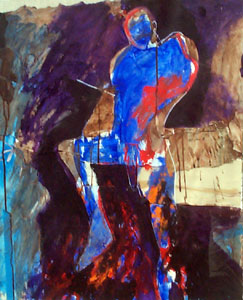 "Fritz Scholder, Man in Blue, Mixed Media, circa mid 1980s, 27"" x 22"""