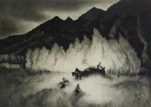 "Gene Kloss, New Mexico Harvest, etching, 10"" x 14"""