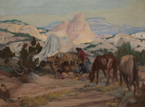 """Gerald Cassidy, Evening Meal, Navajo Land, Oil on Canvas, c. 1920, 30"""" x 40"""""""