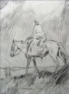 "Gerald Cassidy, Navajo Woman, Pencil on Paper, 1924, 10.25"" x 7.5"""