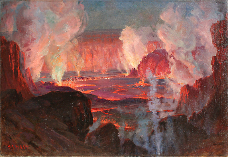"Harry C. Best, Volcanic Eruption, Circa 1920, Oil on Canvas, 30"" x 44"""