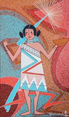 """Helen Hardin, Blue Corn Maiden, Acrylic on Panel, 10"""" x 6"""""""