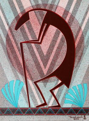 """Helen Hardin, Kokopelli, circa 1976, Acrylic on Panel, 12"""" x 9"""""""