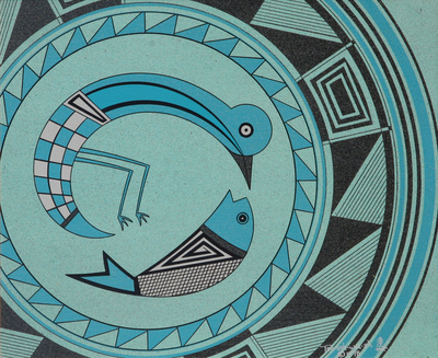 "Helen Hardin, Mimbres Bird Eating Fish, Acrylic on Panel, 10"" x 12"""