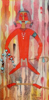 "Helen Hardin, Red Man in Journey, Acrylic on Panel, c. 1971, 16"" x 8"""