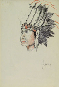 "Henry Farny (1847-1916) Indian Chief, Graphite and Colored Pencil, 6"" x 4"""
