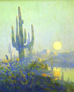 "Jack van Ryder, Saguaro and Rising Moon, Oil on canvas, 20"" x 16"""
