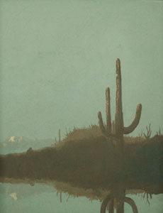 "Jack van Ryder, Saguaros, Arizona Landscape, Oil on Canvas, 16"" x 12"""