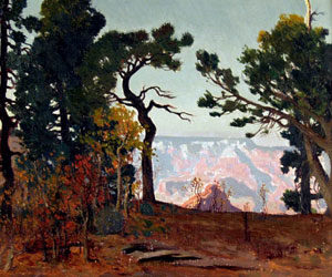 "James Swinnerton, A View of the Grand Canyon, Oil on Board, 10"" x 12"""