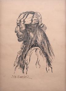 """Joe Beeler, Apache, Pen and Ink on Paper, 9.5"""" x 6.75"""""""