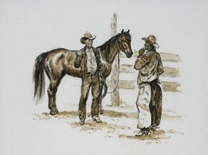 "Joe Beeler, Trading Horses, Charcoal on Paper, c. 1960-70, 16"" x 20"""