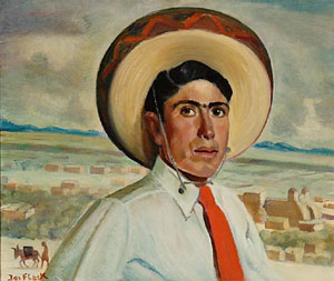 """Joseph Fleck, Young Man with Sombrero, Oil on Canvas, c. 1931, 20"""" x 24"""""""