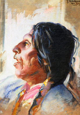 "Julius Rolshoven, An Invocation, Pueblo Tesuque, Oil on Canvas, 1916, 20"" x 16"""