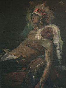 """Julius Rolshoven, The Wounded Warrior's Return, Circa 1920, Oil on Canvas, 16"""" x 12"""""""