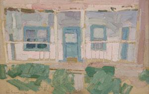 """Leon Gaspard, Taos Home, Oil on Board, Circa 1919, 8.75"""" x 13.5"""""""