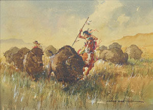"Lloyd Harting, Buffalo Stampede, Watercolor, 9"" x 12"""